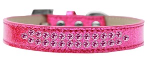 Two Row Bright Pink Crystal Size 12 Pink Ice Cream Dog Collar