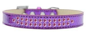 Two Row Bright Pink Crystal Size 20 Purple Ice Cream Dog Collar