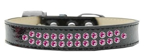 Two Row Bright Pink Crystal Size 20 Black Ice Cream Dog Collar