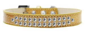 Two Row Clear Crystal Size 16 Gold Ice Cream Dog Collar