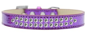 Two Row Clear Crystal Size 16 Purple Ice Cream Dog Collar