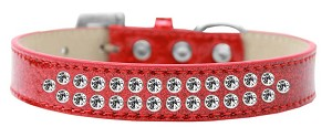 Two Row Clear Crystal Size 16 Red Ice Cream Dog Collar