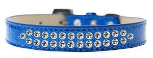 Two Row Clear Crystal Size 20 Blue Ice Cream Dog Collar