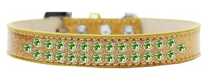 Two Row Lime Green Crystal Size 16 Gold Ice Cream Dog Collar