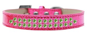 Two Row Lime Green Crystal Size 12 Pink Ice Cream Dog Collar