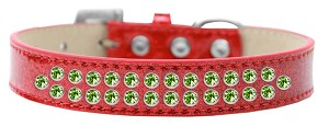 Two Row Lime Green Crystal Size 20 Red Ice Cream Dog Collar