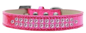 Two Row Light Pink Crystal Size 14 Pink Ice Cream Dog Collar