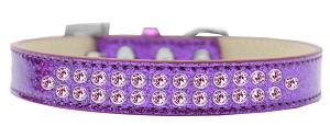Two Row Light Pink Crystal Size 12 Purple Ice Cream Dog Collar