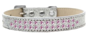 Two Row Light Pink Crystal Size 14 Silver Ice Cream Dog Collar