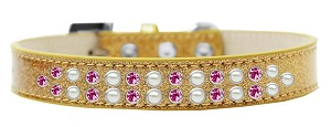 Two Row Pearl and Pink Crystal Size 14 Gold Ice Cream Dog Collar