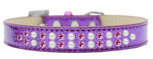 Two Row Pearl and Pink Crystal Size 14 Purple Ice Cream Dog Collar