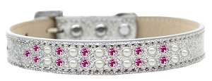Two Row Pearl and Pink Crystal Size 12 Silver Ice Cream Dog Collar
