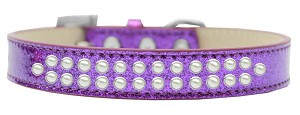 Two Row Pearl Size 20 Purple Ice Cream Dog Collar