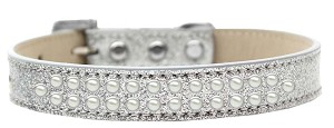 Two Row Pearl Size 14 Silver Ice Cream Dog Collar