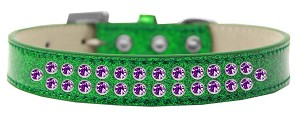 Two Row Purple Crystal Size 16 Emerald Green Ice Cream Dog Collar
