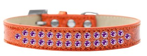 Two Row Purple Crystal Size 20 Orange Ice Cream Dog Collar