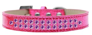 Two Row Purple Crystal Size 14 Pink Ice Cream Dog Collar