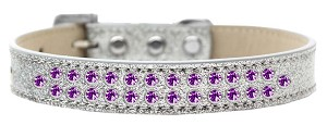 Two Row Purple Crystal Size 14 Silver Ice Cream Dog Collar