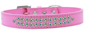 Two Row AB Crystal Size 12 Bright Pink Dog Collar
