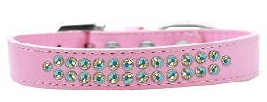 Two Row AB Crystal Size 18 Light Pink Dog Collar