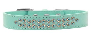 Two Row AB Crystal Size 12 Aqua Dog Collar