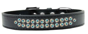 Two Row AB Crystal Size 20 Black Dog Collar