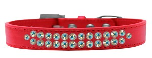 Two Row AB Crystal Size 14 Red Dog Collar