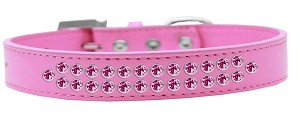Two Row Bright Pink Crystal Size 18 Bright Pink Dog Collar