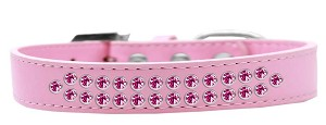 Two Row Bright Pink Crystal Size 12 Light Pink Dog Collar