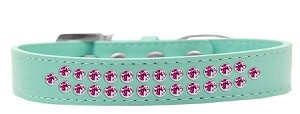 Two Row Bright Pink Crystal Size 14 Aqua Dog Collar