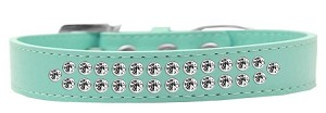 Two Row Clear Crystal Size 20 Aqua Dog Collar