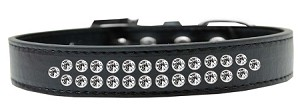 Two Row Clear Crystal Size 16 Black Dog Collar