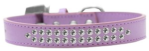 Two Row Clear Crystal Size 18 Lavender Dog Collar