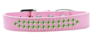 Two Row Lime Green Crystal Size 12 Light Pink Dog Collar