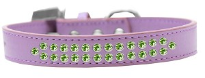 Two Row Lime Green Crystal Size 14 Lavender Dog Collar