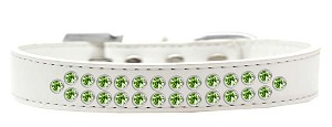 Two Row Lime Green Crystal Size 18 White Dog Collar