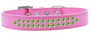 Two Row Lime Green Crystal Size 16 Bright Pink Dog Collar