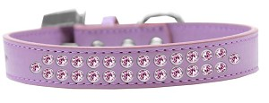 Two Row Light Pink Crystal Size 12 Lavender Dog Collar