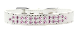 Two Row Light Pink Crystal Size 12 White Dog Collar