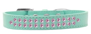 Two Row Light Pink Crystal Size 16 Aqua Dog Collar