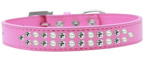 Two Row Pearl and Clear Crystal Size 12 Bright Pink Dog Collar