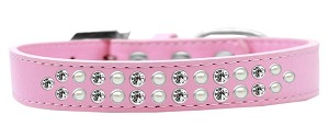 Two Row Pearl and Clear Crystal Size 20 Light Pink Dog Collar