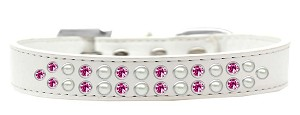 Two Row Pearl and Pink Crystal Size 20 White Dog Collar