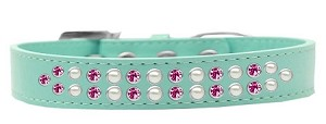 Two Row Pearl and Pink Crystal Size 16 Aqua Dog Collar