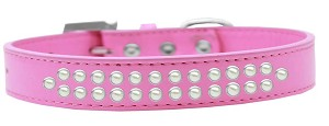 Two Row Pearl Size 14 Bright Pink Dog Collar