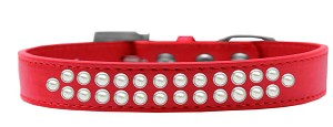 Two Row Pearl Size 16 Red Dog Collar