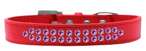 Two Row Purple Crystal Size 20 Red Dog Collar