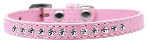Clear Crystal Size 16 Light Pink Puppy Collar