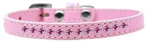 Bright Pink Crystal Size 8 Light Pink Puppy Collar