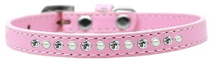 Pearl and Clear Crystal Size 8 Light Pink Puppy Collar